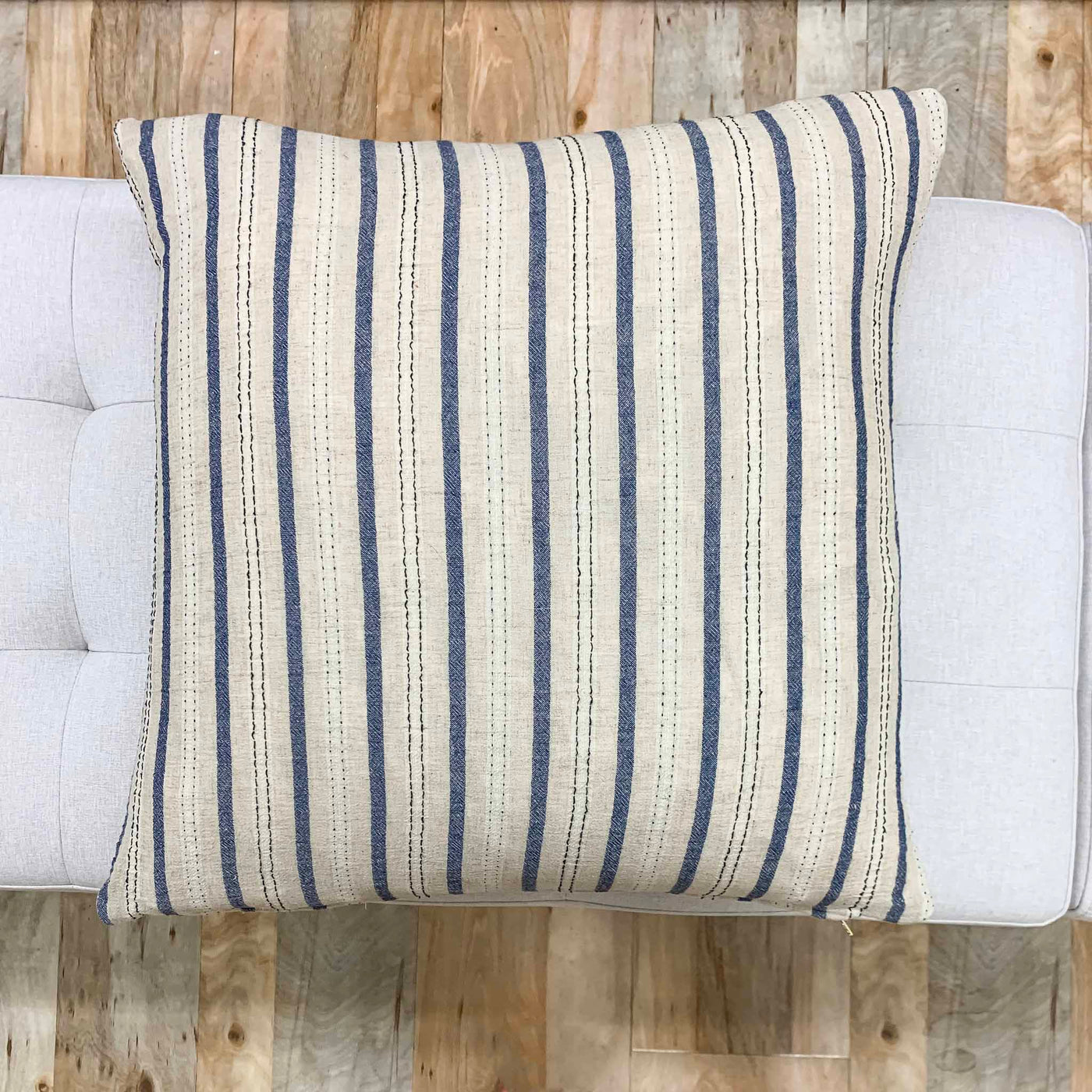 Vintage Blue & Tan Striped Pillow - Stewart - Studio Pillows