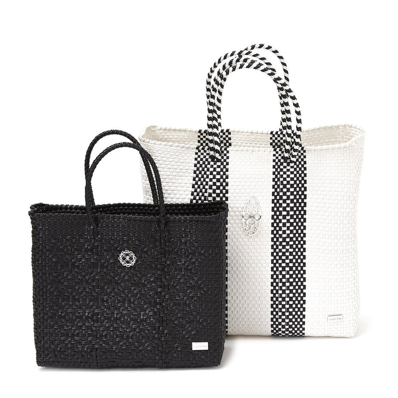 MEDIUM WHITE STRIPE TOTE BAG