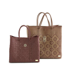 MEDIUM BURGUNDY BEIGE TOTE BAG