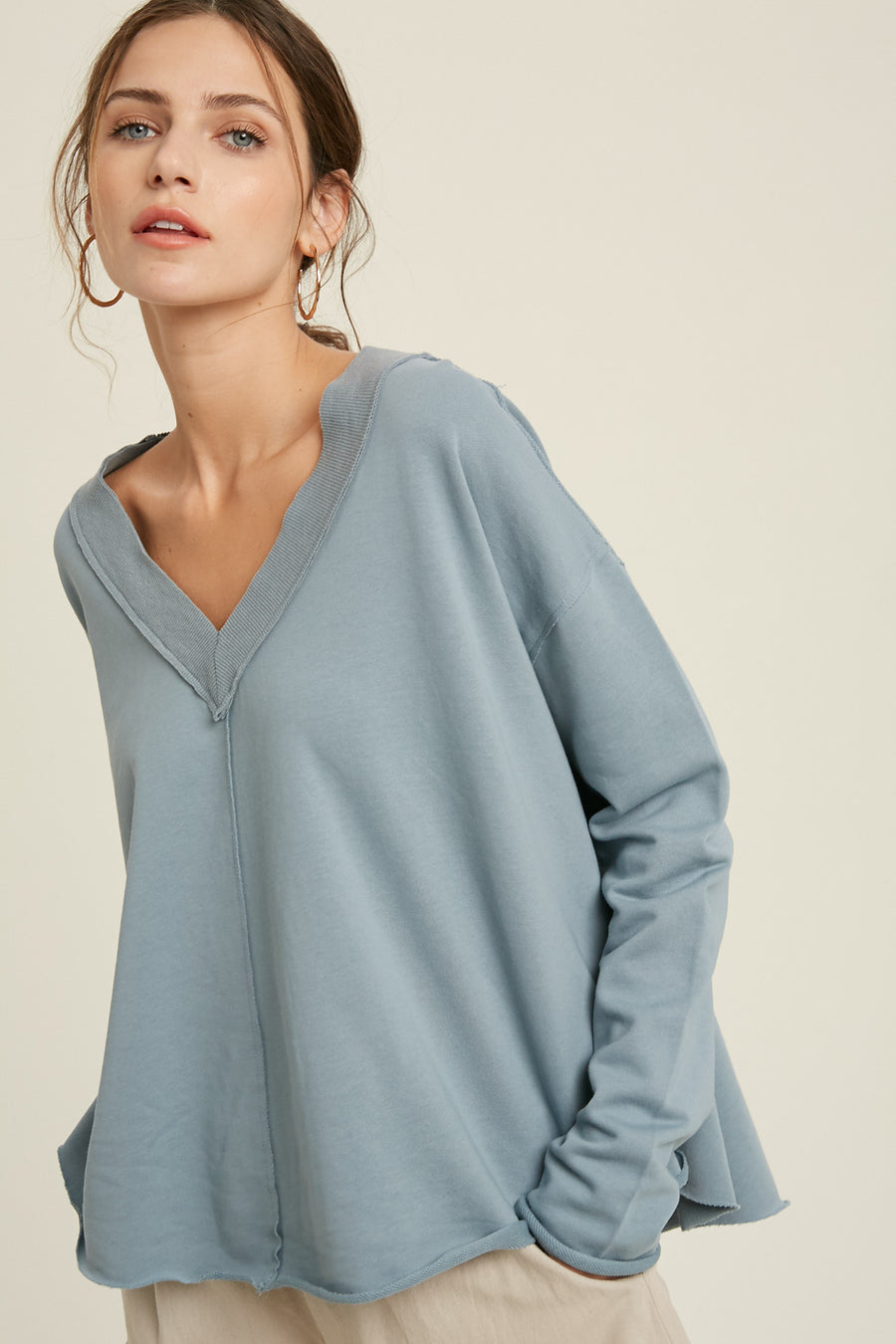 VNeck French Terry Pullover