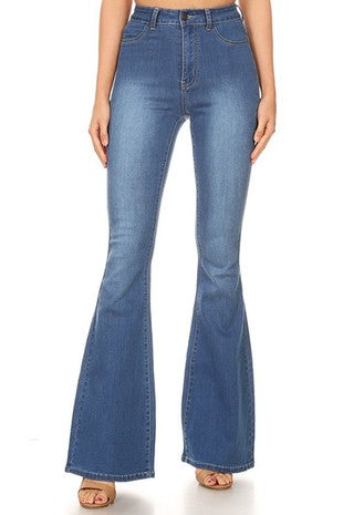High Rise Stretch Bell Bottom Jeans