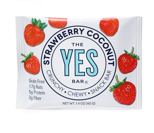 YES BAR - WORLD'S BEST TASTING SNACK BAR™ - Strawberry Coconut - Plant-Based, Gluten-Free, Dairy-Free