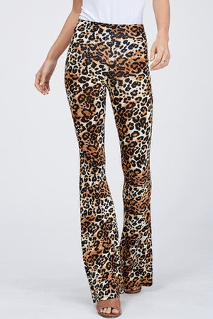 Leopard Print Knit Bell Bottom Leggings