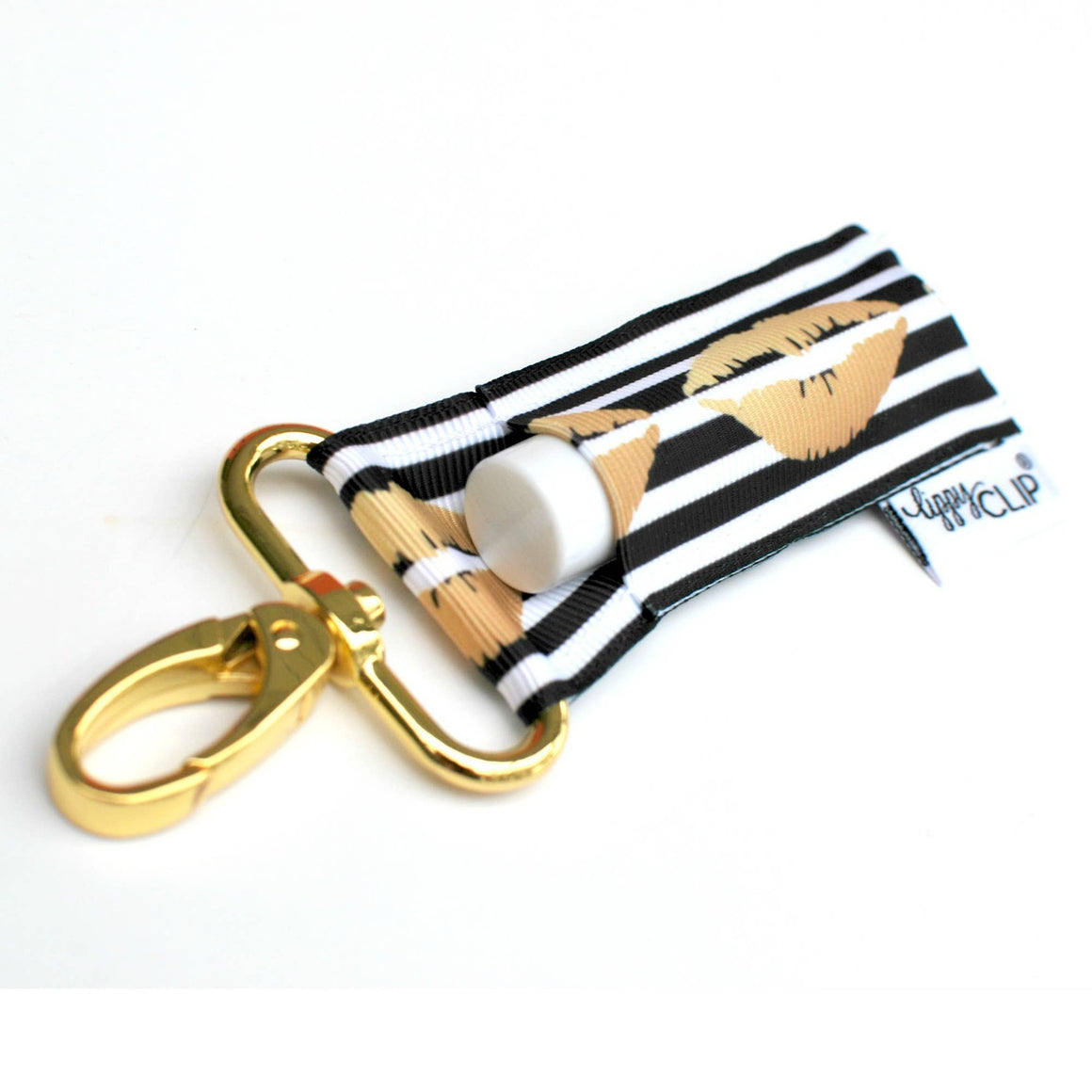 LippyClip® Lip Balm Holder - Black and White Stripe with Gold Lips LippyClip or Keychain