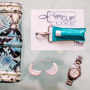 LippyClip® Lip Balm Holder - Aqua Geometric LippyClip Luxe Lip Balm Holder
