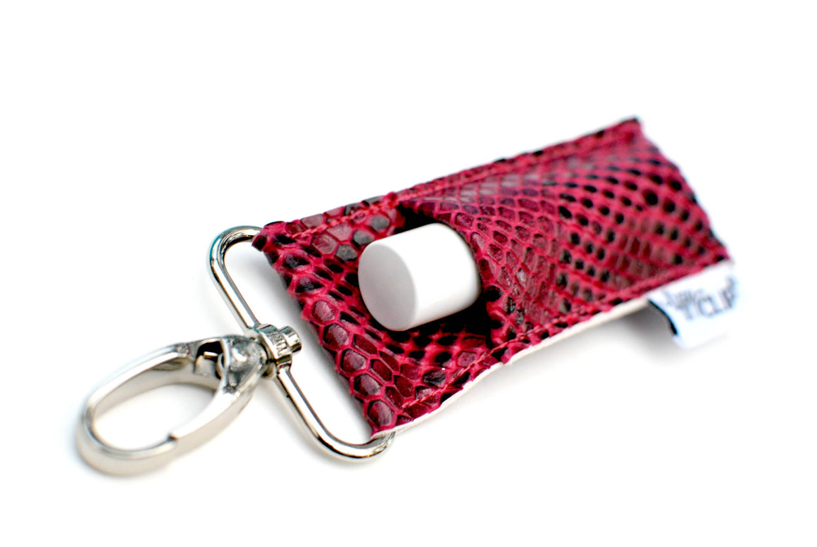 LippyClip® Lip Balm Holder - Hot Pink Snakeskin LippyClip Luxe Lip Balm Holder