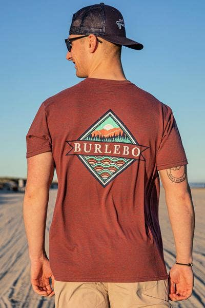 BURLEBO - Signature Logo Heather Wine Short Sleeve Tees