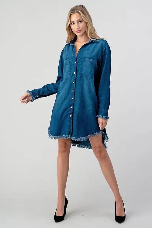 Denim Long Sleeve Button Down Pocket Dress/Tunic