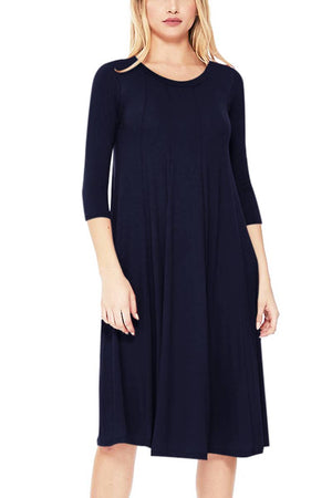 Solid Jersey Knit Relaxed Fit Mid Length Dress