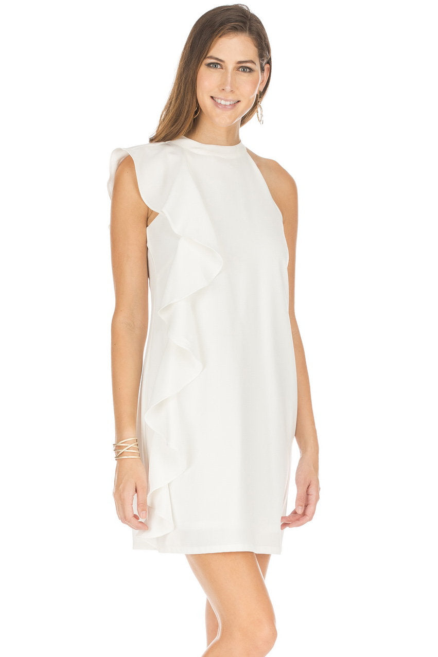 Side Ruffle White Dress- JADE by Melody Tam