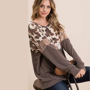 Sequin/Cow print soft knit top