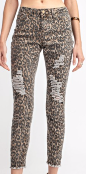 Animal Print Distressed jeans