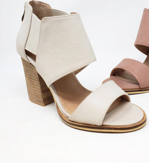 Cute Comfy Strappy Heels   Light Grey