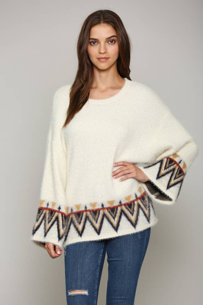 FATE - AZTEC PRINT PULLOVER FUZZY SWEATER (CREAM)