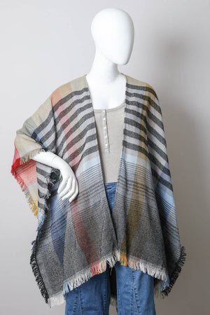 Leto Accessories - Colorblock & Stripe Poncho