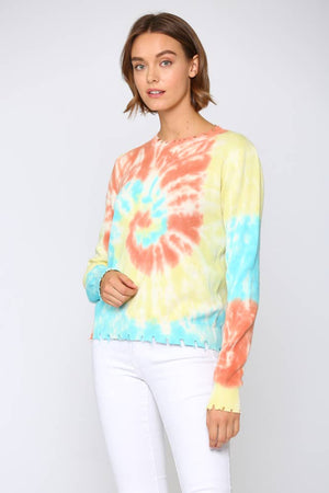 FATE - MULTI COLOR TIE DYE SWEATER/DISTRESSED DETAIL