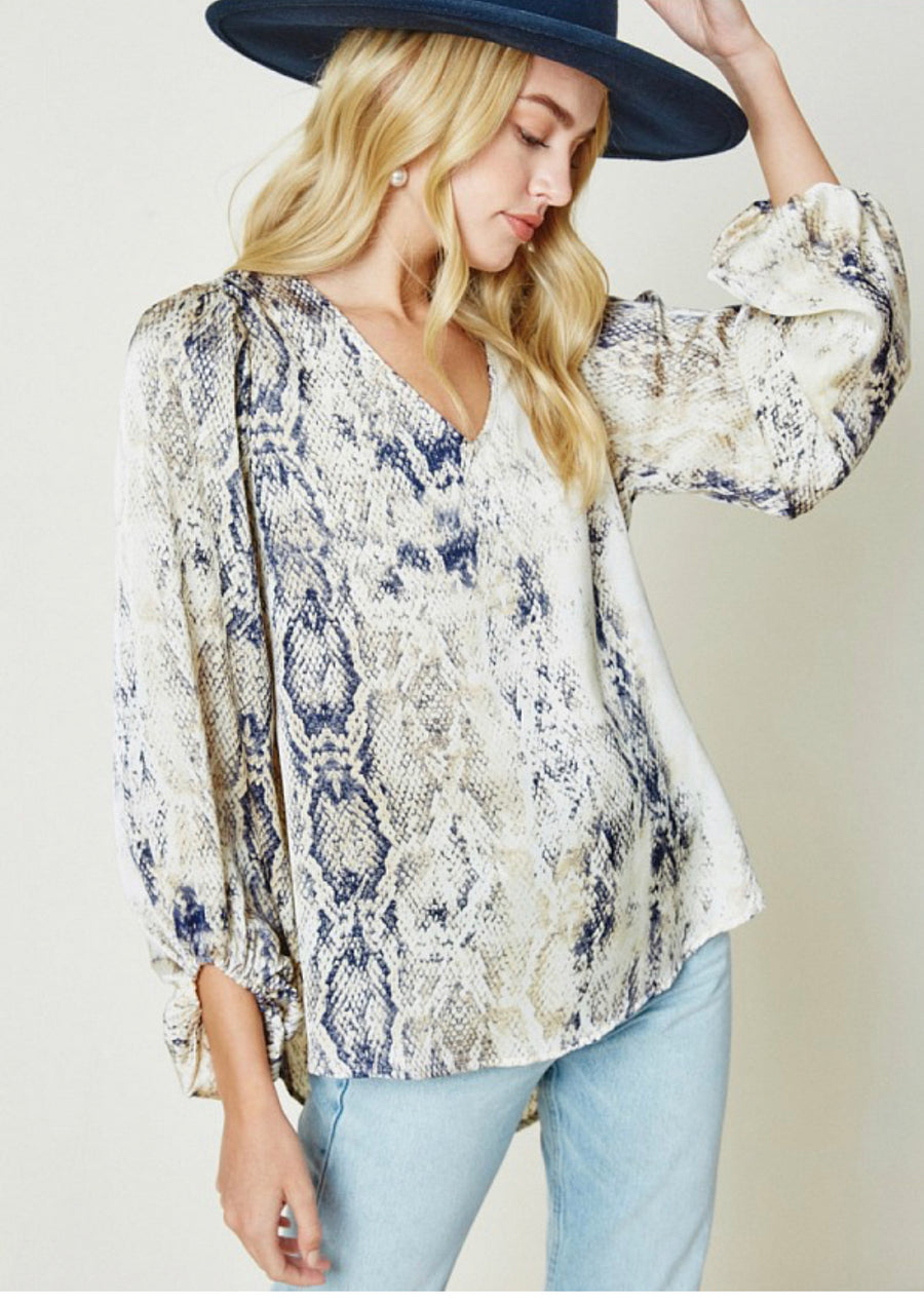 VNeck Puff Sleeve Blouse   Cream Snake Mix