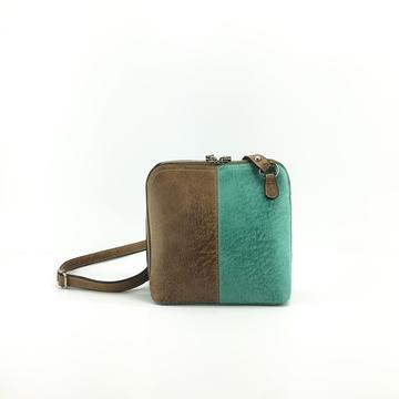 Brown & Turquoise Double Zip Hand bag - TRESKA