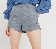 Scalloped-Hem-Shorts--Charcoal-Black