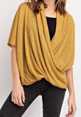 Hacci-V-Neck-Top---Color-Hot-Mustard