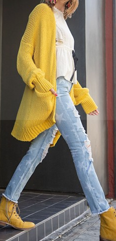 Knitted-Sweater-Cardigan---Mustard