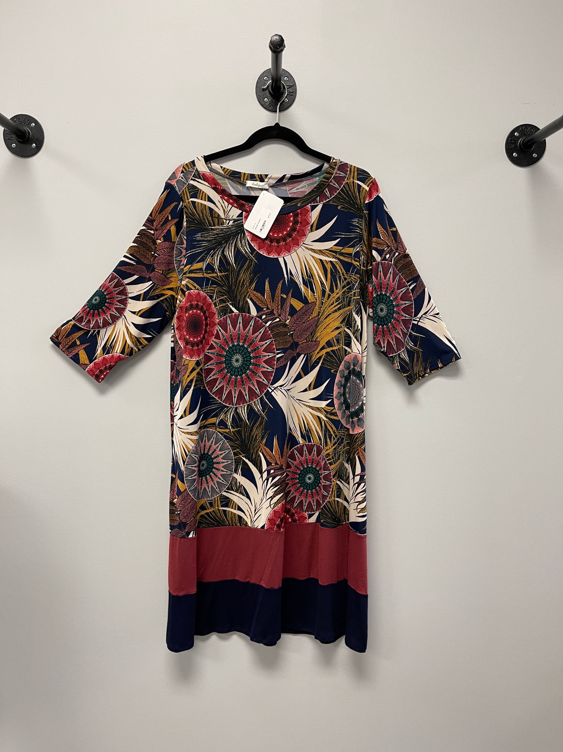 Floral Jersey 3/4 Sleeve Dress