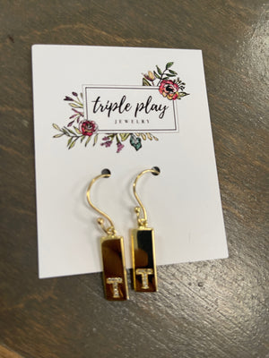 Triple Play Initial Earrings