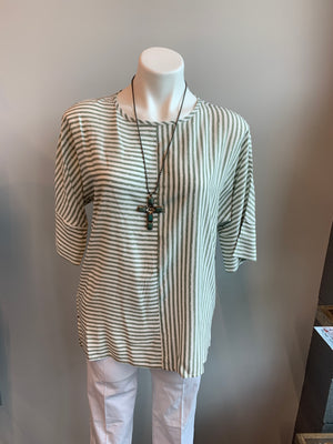 Woven Mix Stripe Top