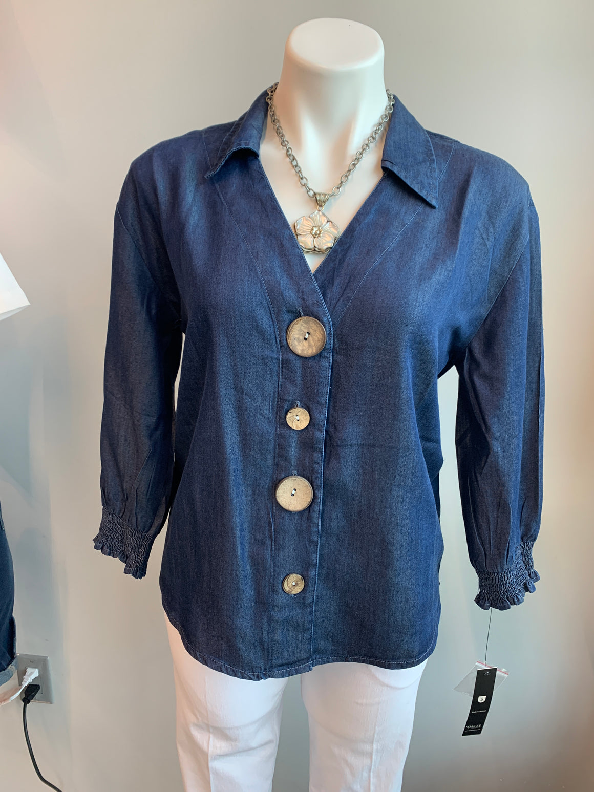 Denim Collared V Neck with elastic sleeve cuff