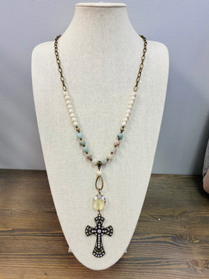 LF Turquoise Beaded Cross Necklace