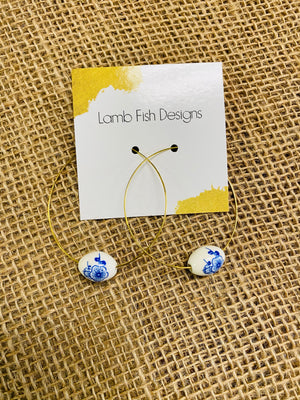 LF Blue Flower Bead Earrings
