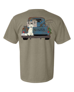 Lab Fishing Truck SS Tshirt - Supports Rescue Pets