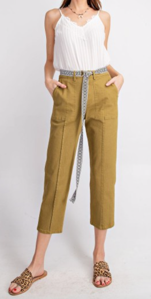WASHED BOHO BELT ATTACHED PANTS