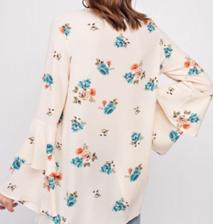FEMME FLORAL TUNIC FEATURING DOUBLE BELL SLEEVES