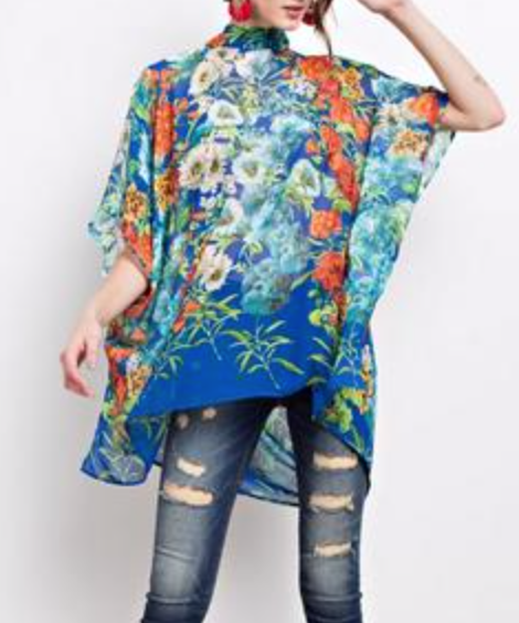 Dolman Sleeve Bohemian Printed Top