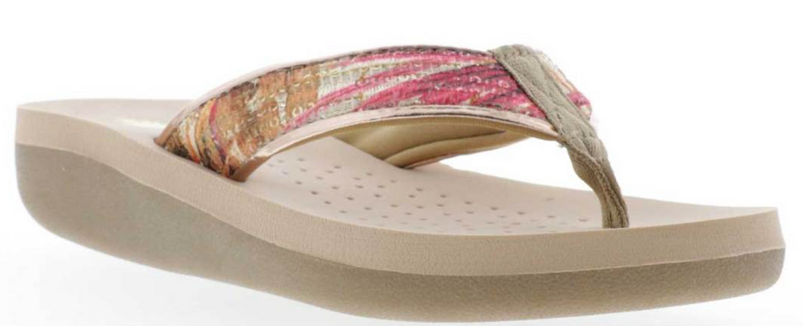 Volatile Cantano Fern Print Sequin Thong Sandal