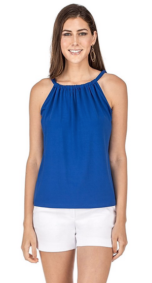 Cinch Neckline Jersey Top