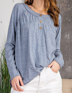 Easel Faded Denim L/S Button Front