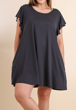 Cupro-Ruffled-Sleeves-Pocket-Tee-Dress---CURVY.---Color-ASH