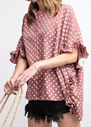 Polka-Dot-Shirt-with-Ruffled-Hem