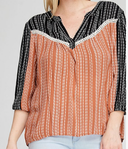 Striped-Contrast-Color-Blocked-V-Neck-Top---CURVY