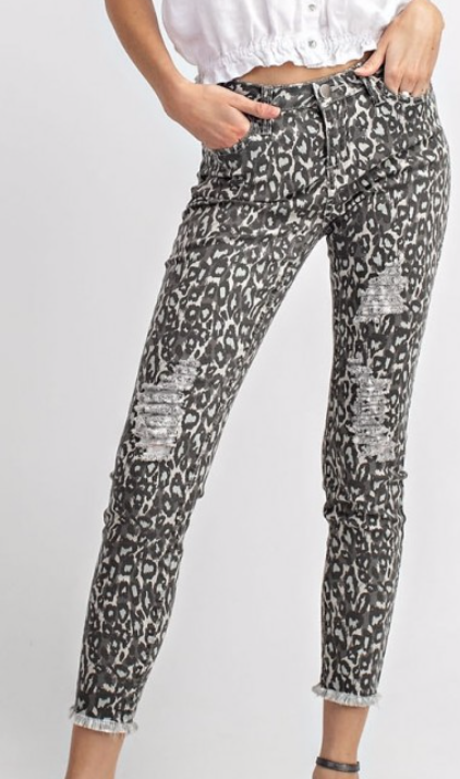 Animal Print Distressed jeans- Now in Grey