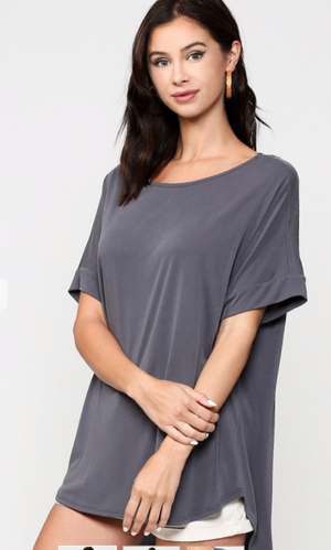 Short Sleeve Cupro Back Button Detail Top with Asymmetric Hem