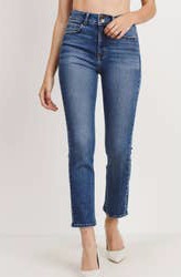 Double Button Straight Denim Jeans by JBD