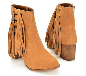 Matisse Suede Leather Fringe Detailed Ankle Boot
