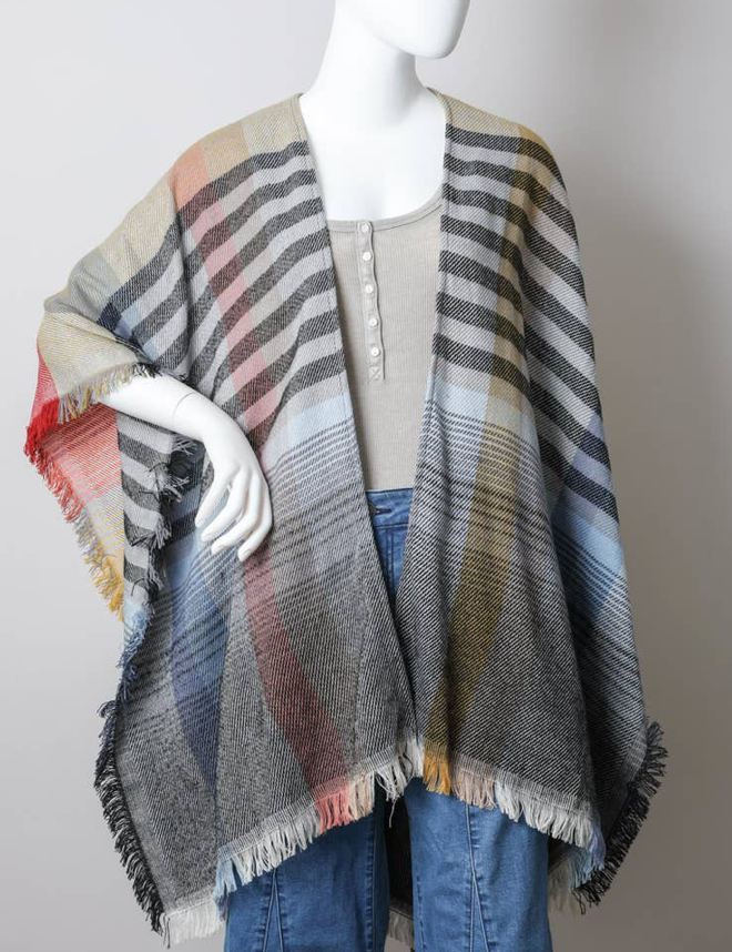Colorblock and Stripe Poncho/Ruana