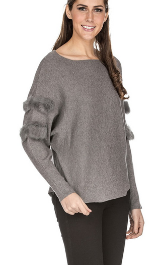 Fur Trim Sweater - Jade by Melody Tam