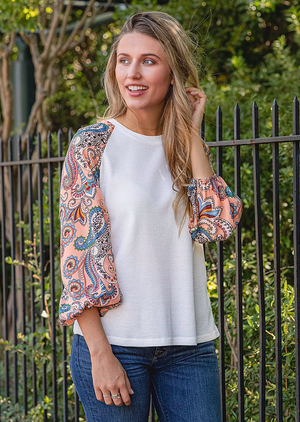 Flare Paisley Sleeve Top