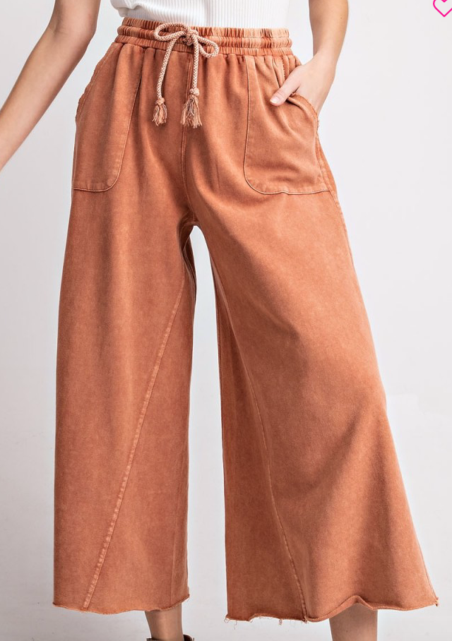 Washed Terry Knit Wide Pants