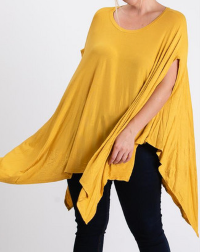 Scoop Neck Poncho Top - One Size